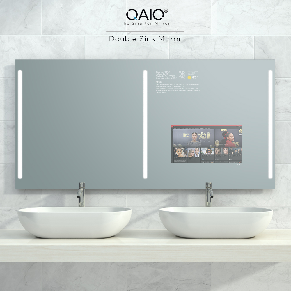 Access your favorite apps and more with this double sink mirror TV.