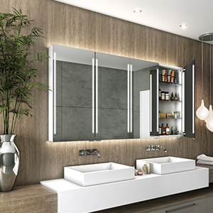 Bathroom cabinet mirrors with integrated light for medicine and other bathroom stuff storage.