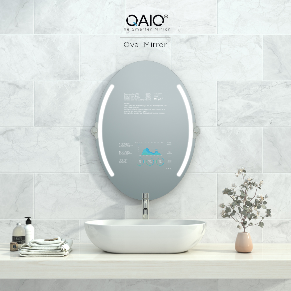 Beautiful and Android smart oval vanity mirror TV with TrueLight.