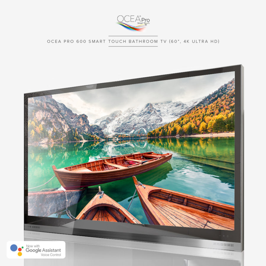 Best picture quality smart touch bathroom TV with a speaker bar.