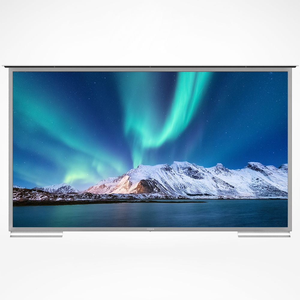 Big screen smart outdoor TV with non-reflective glass and 4K resolution.