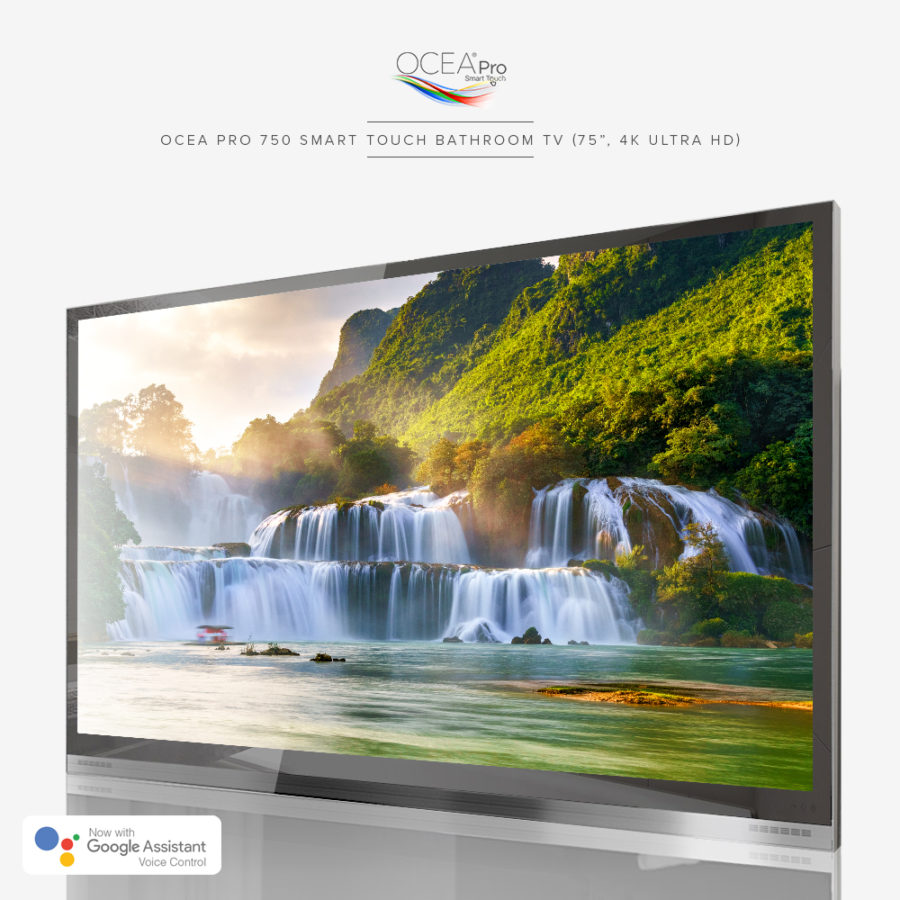 Big screen smart touch bathroom TV with tempered mirror glass.