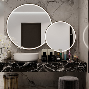 Brushed aluminum framed round mirrors with integrated light.