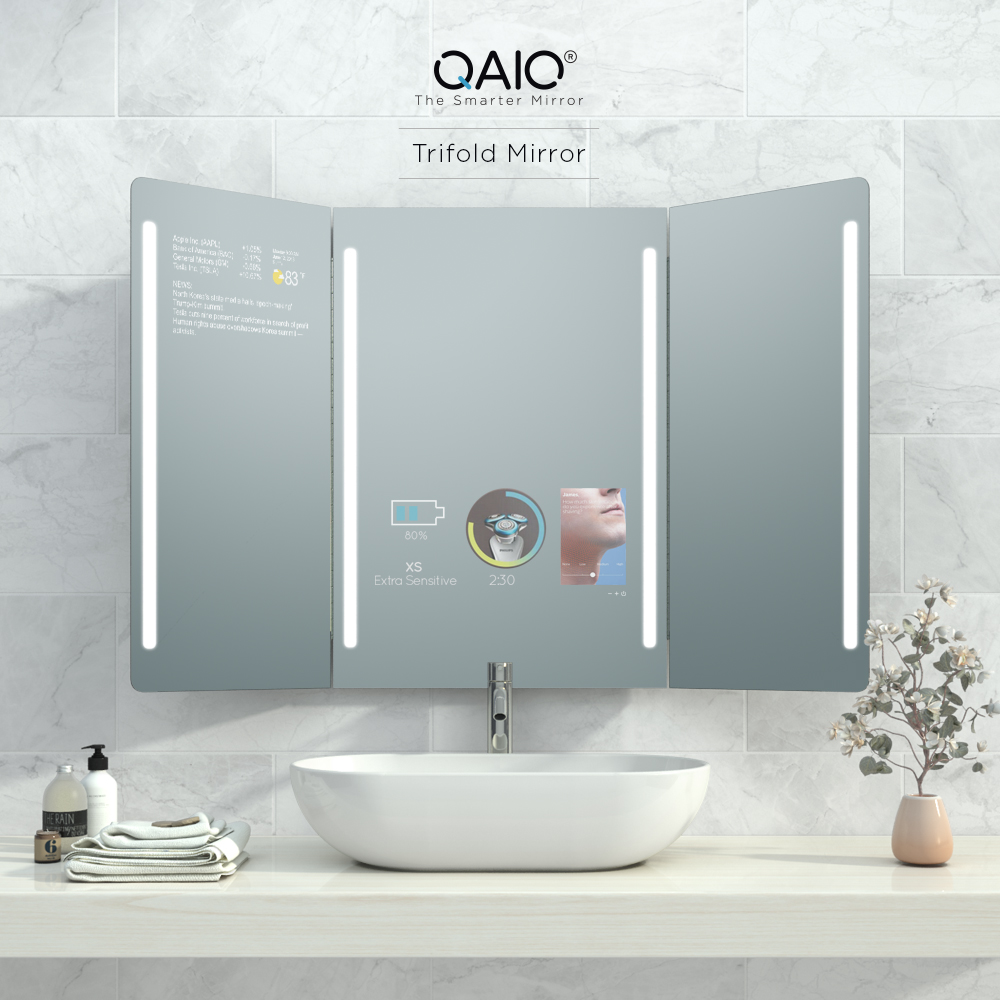 Connect your smart watch, toothbrush, shaver and more with this trifold mirror.