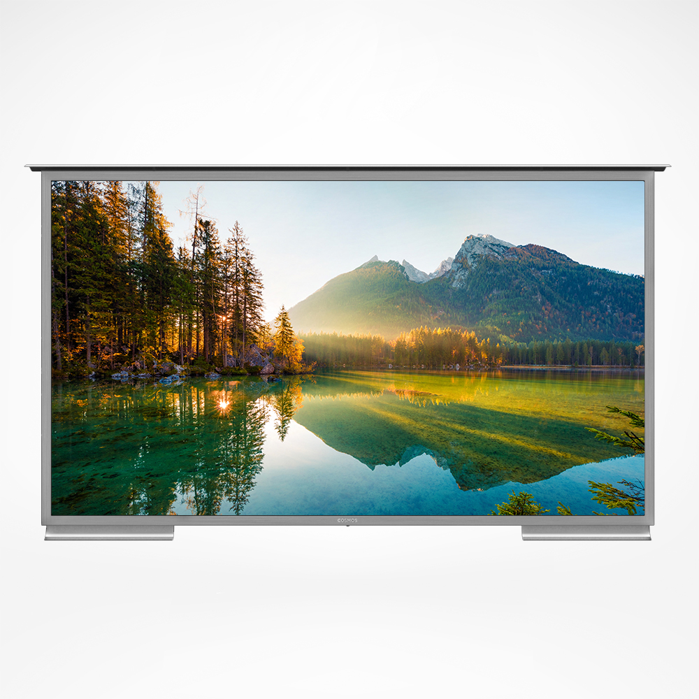 Heavy duty smart outdoor TV with solid stainless steel case.