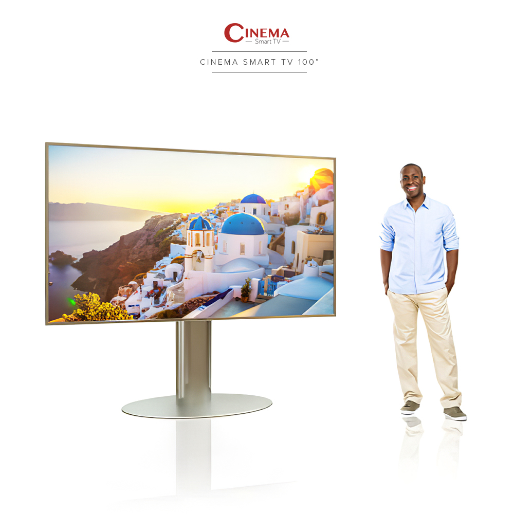 Large home cinema smart TV with a very durable stainless steel floor mount.
