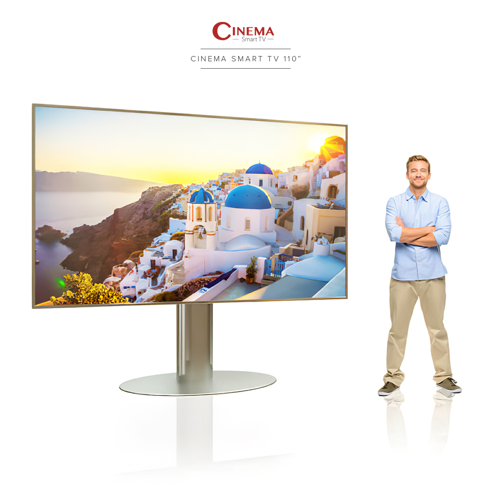 Large widescreen cinema smart TV with a stainless steel floor mount.
