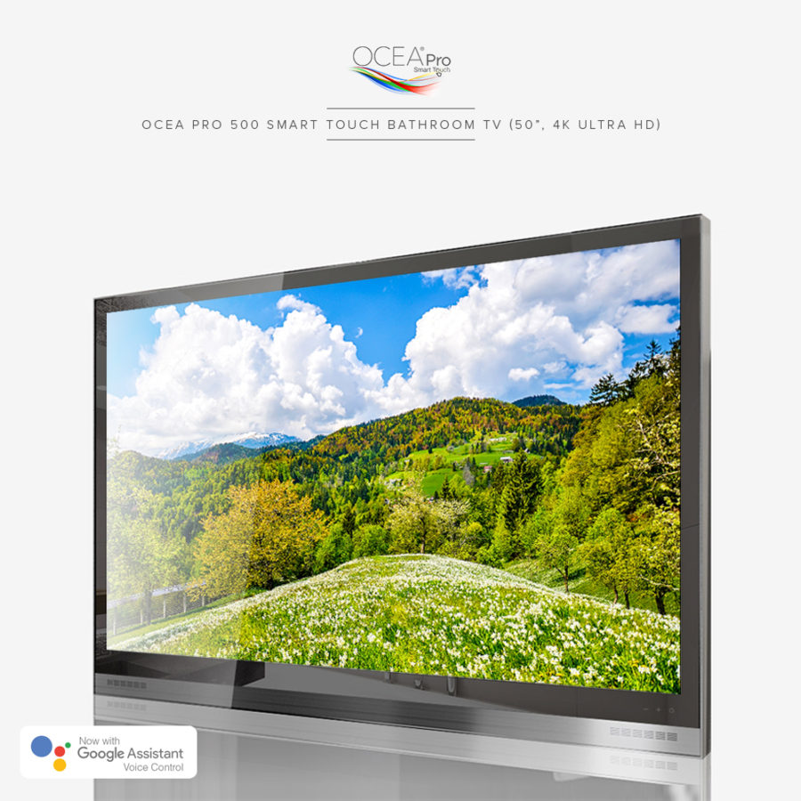 Real 4K ultra HD bathroom TV with Google Assistant voice control.
