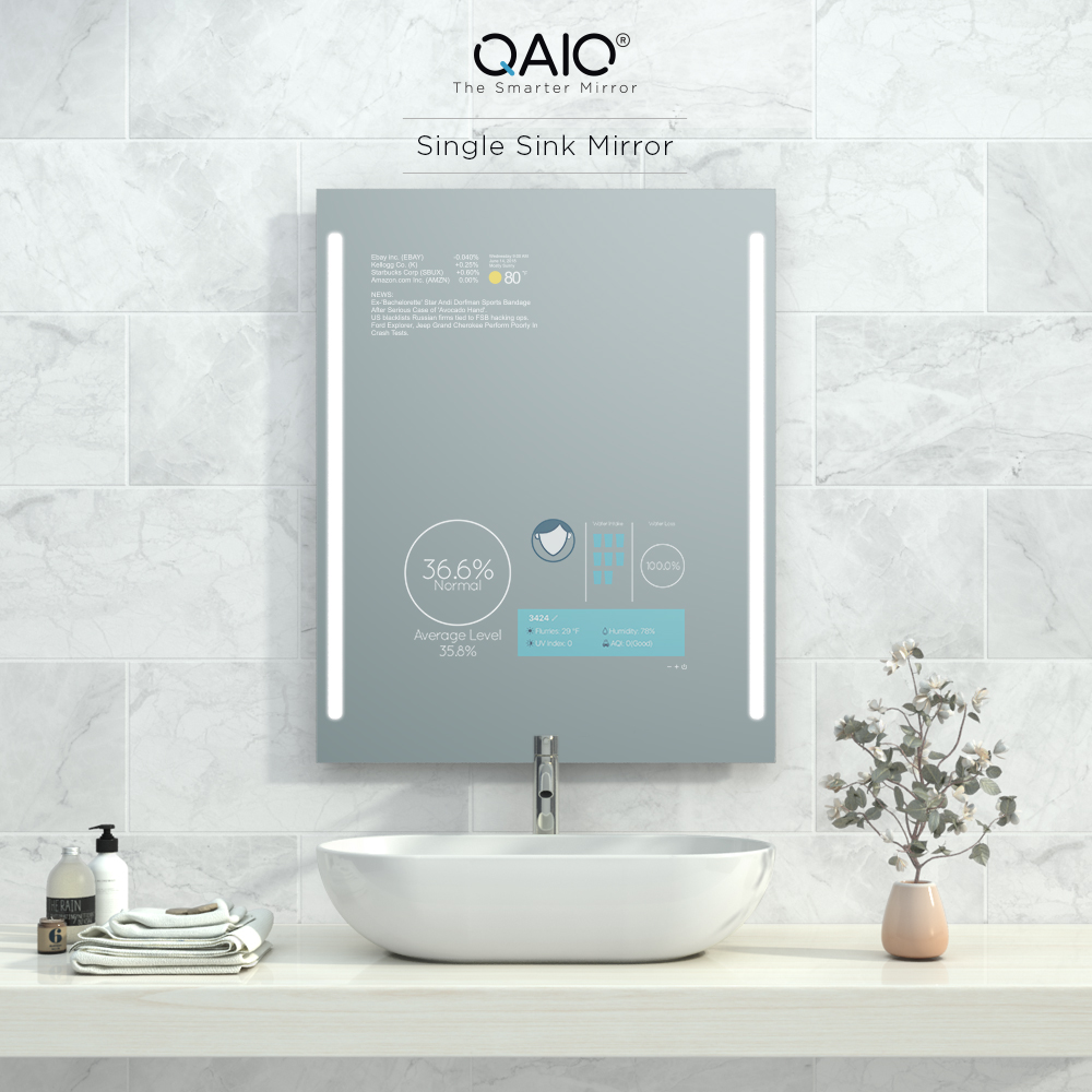 Single sink Android smart mirror TV.