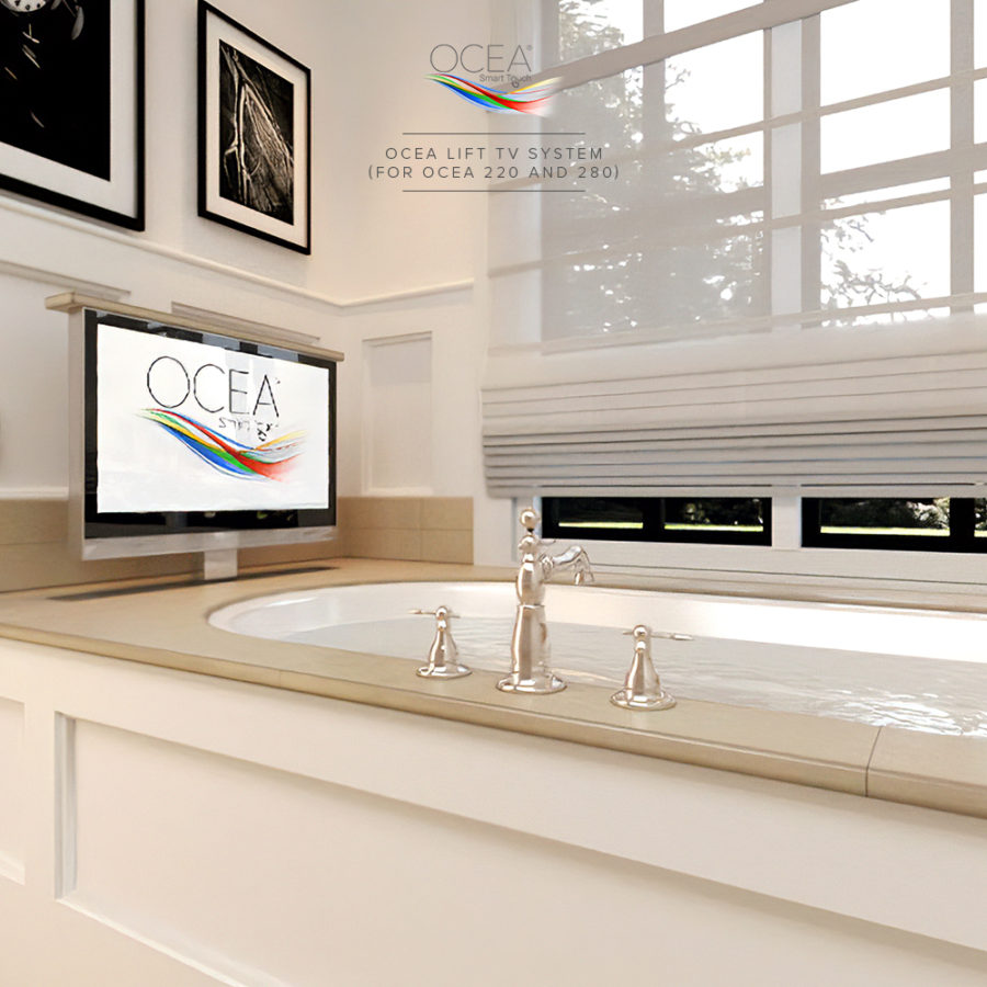 Smart bathroom TV on a lift system.