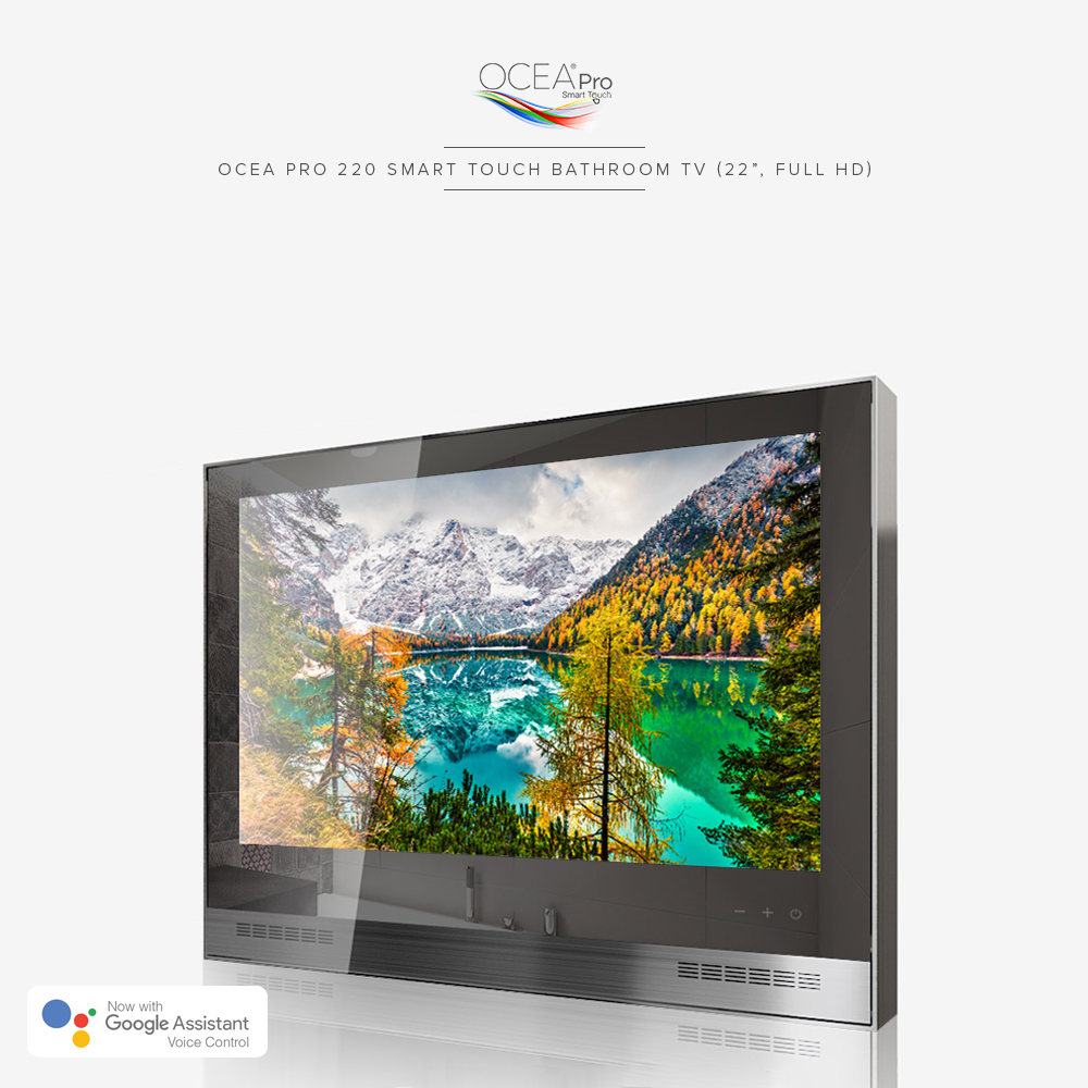 Smart touch bathroom TV with tempered mirror glass and a soundbar.