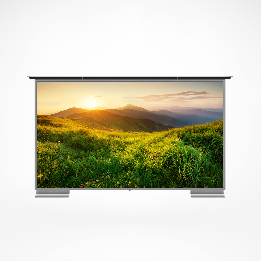 Smart outdoor TV with patented weather cap and audio streamers.