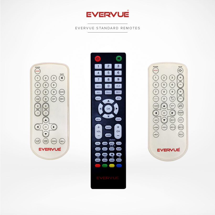 Standard remote controls all with general settings and necessary buttons.