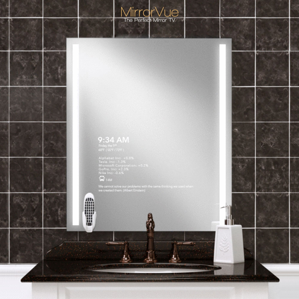 Standard size single sink mirror TV with integrated light for your bathroom vanity.